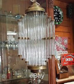 Antique Old Vintage Art Deco Brass & Glass Ceiling Fixture Chandelier Light Lamp