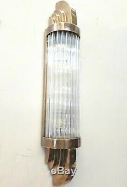 Antique Old Vintage Art Deco Brass & Glass Rod Ship Light Wall Sconces Lamp