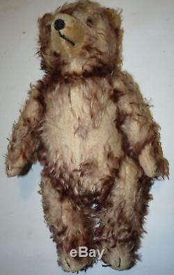 Antique Old Vtg Teddy Bear Brown Jointed Stuffed Straw Wood/Sawdust Toy a4