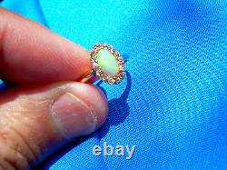 Antique Opal old European cut Diamond solitaire Vintage Deco engagement Ring