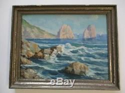 Antique Painting Small Gem Vintage Landscape Seascape Coast Sea Ocean Gianni Old