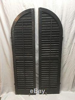 Antique Pair Arched Dome Top Wood Louvered Shutters 62x16 Old Vtg 228-18E