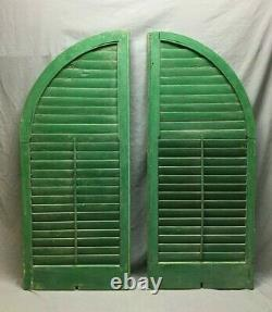 Antique Pair Arched Dome Top Wood Louvered Window Shutters 20x48 Old Vtg 228-20B