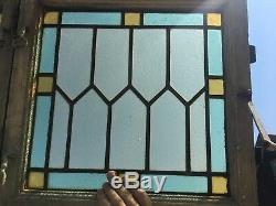 Antique Pair Casement Cabinet Doors Windows Leaded Stained Glass Old Vtg 443-18E