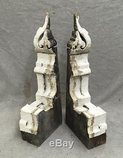 Antique Pair Wood Corbels Gingerbread Shabby Old Cottage Chic Vtg 1235-16