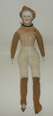 Antique Parian Head 20 Dresden Gentleman Doll Molded Blonde Hair Old Body
