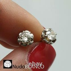 Antique Rare Dormeuses Flowers Earring Gold 18k Old Cut Diamonds Screw Back Stud