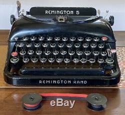 Antique Remington Rand 5 Portable Typewriter + Hard Carry Case Old Vintage Type
