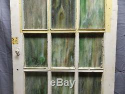 Antique Stained Slag Glass 15 Lite Window Door 64x28 Shabby Old Vtg Chic 531-18P