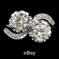 Antique Toi at Moi Ring Old European & Rose Cut Diamonds Platinum Engagement