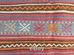 Antique Turkish Kilim Rug shabby vintage old wool country home Kelim 206x142cm
