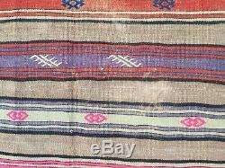 Antique Turkish Kilim Rug shabby vintage old wool country home Kelim 247x145cm