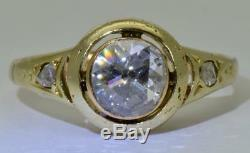 Antique Victorian 14k Gold&1ct old Rose cut Diamonds ladies ring c1880's. Rare