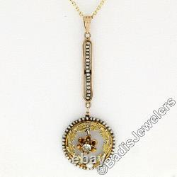 Antique Victorian 14k Gold Old Cut Diamond Seed Pearl Lavaliere Pendant Necklace
