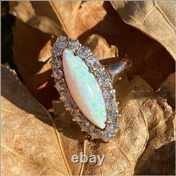 Antique Victorian 14k Rose Gold Old Mine Cut Diamond Halo Marquise Opal Ring