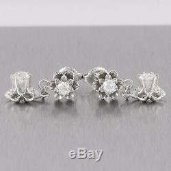 Antique Victorian 14k White Gold 1.12ctw Old Mine Diamond Flower Dangle Earrings