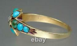 Antique Victorian 15K Gold Old Mine Cut Diamond Turquoise Floral Star Ring S 6.5