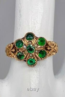 Antique Victorian 1870s 2ct Old Euro Emerald Pearl 14k Yellow Gold HALO Ring