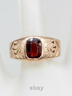 Antique Victorian 1870s 3ct Old Cushion Cut Garnet 8k Yellow Gold Mens Band Ring
