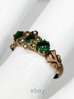 Antique Victorian 1880s 1ct Old Euro Natural Emerald Pearl 14k Yellow Gold Ring