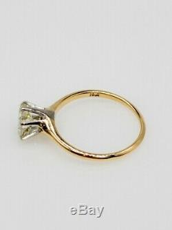 Antique Victorian 1890s 1ct Natural VS K OLD CUT Diamond 14k Gold Platinum Ring