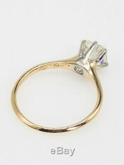 Antique Victorian 1890s 1ct Natural VS K OLD CUT Diamond 14k Gold Platinum Ring