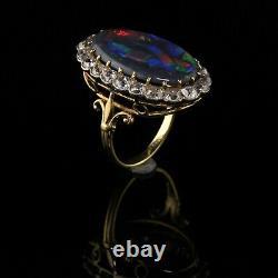 Antique Victorian 18K Gold and Platinum Old Mine Cut Diamond Black Opal Ring