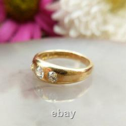 Antique Victorian 18ct Gold Old Cut Diamond Gypsy Ring, Vintage Trilogy, UK N