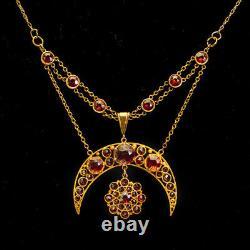 Antique Victorian Crescent Moon & Star Old Cut Garnet 15ct Gold Necklace c. 1890