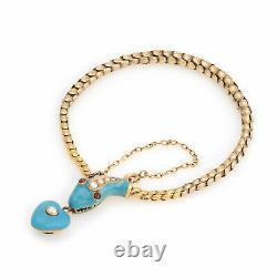 Antique Victorian Snake Bracelet 18k Yellow Gold Blue Enamel Garnet Pearl Old