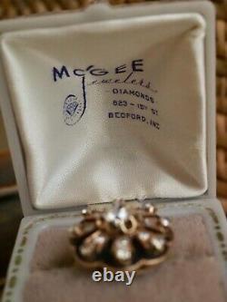 Antique Victorian/edwardian Old Mine Cut Diamond & Black Enamel Ring 1.00ct