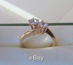 Antique Vintage 9ct Yellow Gold. 64ct Old Cut Double Diamond Engagement Ring L