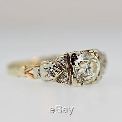 Antique Vintage Engagement ring. 90 ct OLD EUROPEAN CUT DIAMOND