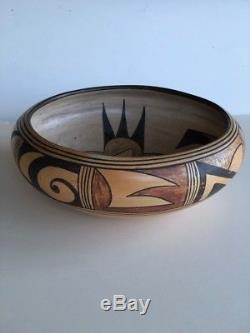 Antique Vintage Hopi Pueblo Indian Pottery Bowl Btfl Old Dsgn + Polychrome