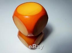 Antique Vintage Old Amber Bakelite Catalin Dice Rod Block 320gr RAR