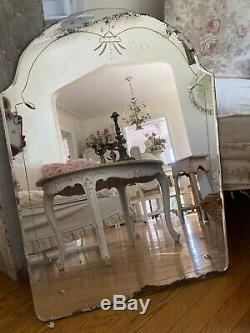 Antique Vintage Old Etched Glass Beveled Mirror ARCHED As Found Large 30X 22