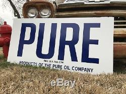 Antique Vintage Old Style PURE Gas Oil Sign Service Station