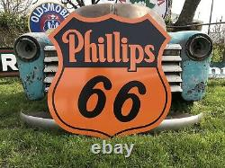 Antique Vintage Old Style Phillips 66 Service Station Sign