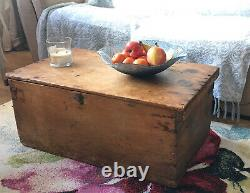 Antique Vintage Pine Trunk Chest Blanket Box Coffee Table Old Storage Toy Box