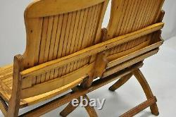 Antique Vintage Wood Slat Double Folding Seat Theater School Old Pew Chair Bench