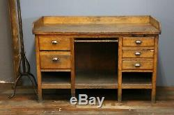 Antique Vintage Workbench Wood Desk Industrial Table Jeweler counter Drawers old