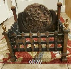 Antique Vintage old Cast Iron Fireplace Grate Log Wood Coal Holder