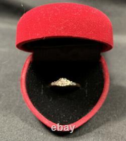 Antique Vtg -14k/18K White & Yellow Gold With3 Old Mine Diamonds Wedding Ring Sz 4