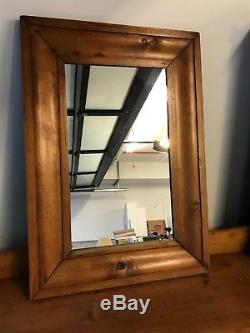 Antique Vtg English Pine Old 1800s Chest Of Drawers Dresser Cabinet with Mirror