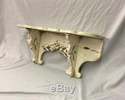 Antique Wood Corbel Wall Shelf Scalloped White 27 Old Shabby Vtg Chic 242-18C