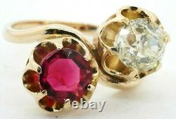 Antique heavy 14K YG 3.41CT Old Miner diamond & ruby cocktail ring size 7.75