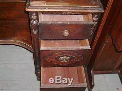 Antique vintage large vanity dresser with tri fold old mirror 6 working drawers