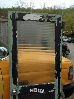 Architectural Salvage Corrugated Glass Official Door Vintage Old or Antique Oak