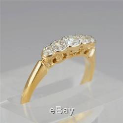 Art Deco 0.5ct Old Cut Diamond Antique 18ct Gold Five Stone Vintage Ring ca 1920
