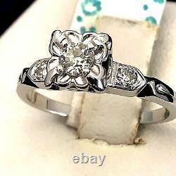 Art Deco 1930s Platinum OLD MINE CUT DIAMOND Engagement Ring Vintage Estate